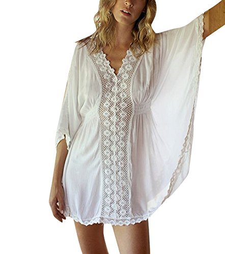 Women's Bathing Suits Cover Up Swimwear Swimsuit Beach Bikini Lace Top (M, White)