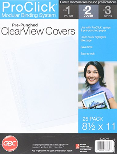 Swingline GBC Clear View Presentation Covers, Pre-Punched for ProClick, 32 Hole, Square Corners, 25 Pack (2020040)