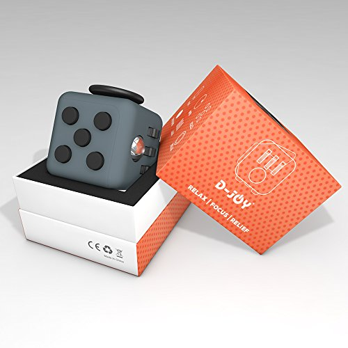 D-JOY Cube Fidget Toy Cube Relieves Stress and Anxiety Attention Toy for Work, Class, Home (Dark Gray) Photo #7