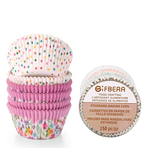Shower Liner Case - Gifbera Colorful Paper Baking Cups Flower Muffin Cupcake Liners Kitchen Decoration Cases for Parties, 150 Pcs