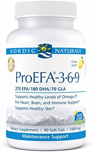 Nordic Naturals ProEFA 3-6-9 - Fish Oil and Borage Oil, 270 mg EPA, 180 mg DHA, 70 mg GLA, 180 mg Oleic Acid, Balance of Omegas 3, 6, and 9 for Heart, Brain, and Immune Health*, 90 Soft Gels