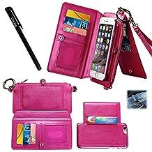 "Urvoix Card Holder Wallet, Zipper Leather Handbag Flip Cover with Detachable Removable Kickstand Case for iPhone6 Plus/6S Plus(5.5"" Version)"