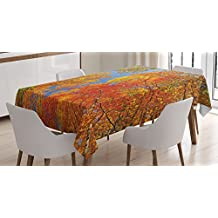 Leaves Decor Tablecloth by Ambesonne, Falls Colors in National Country Park Nature Observation Base Perspective Photo, Dining Room Kitchen Rectangular Table Cover, 52 X 70 Inches