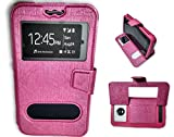 BKDT Marketing Leather finish Flip Cover Case Stand Diary Style for MICROMAX Unite 4 Plus Q427 with Dislay Window - Pink