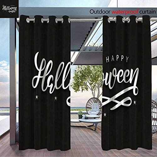 BlountDecor Patio Curtains Vector Realistic Isolated Typography for Halloween and Spiders for Decoration an Outdoor Curtain for Patio,Outdoor Patio Curtains W72 x L108/Pair