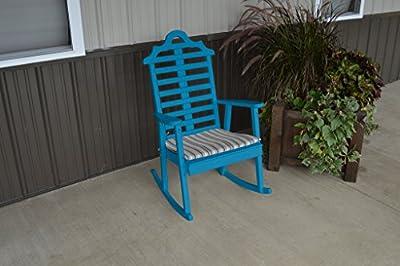 Pine Country Outdoor Marlboro Porch Rocker Amish Made USA- Caribbean Blue Paint