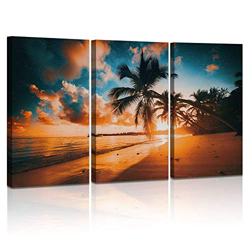 LevvArts Beach Wall Art Large 3 Pieces Sunset Picture Amazing Tropical Beach in Punta Cana Scenery Artwork for Living Room Bedroom Wall Decor Sea Home Decorations 16x32inchx3pcs (Wall Coastal Art View)