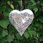 Large Silver Mosaic Mirror Heart Gard...