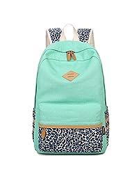 """Artone Leopard Dots Canvas Backpack With Laptop Compartment Fit 15"""" Laptop Auqa Blue"""