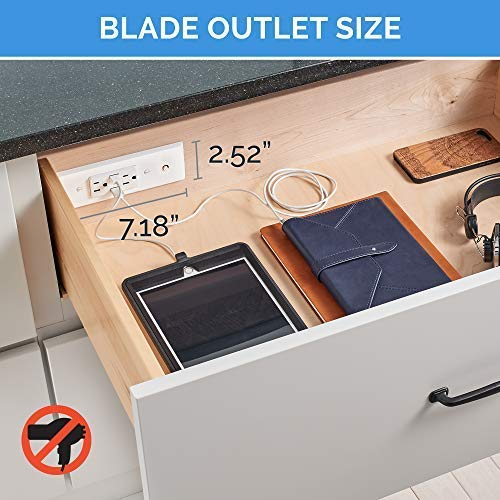 Docking Drawer | Blade In-Drawer Charging Outlet | 2 AC and 2 USB-A ports | White | Easy to Install by Docking Drawer (Image #5)