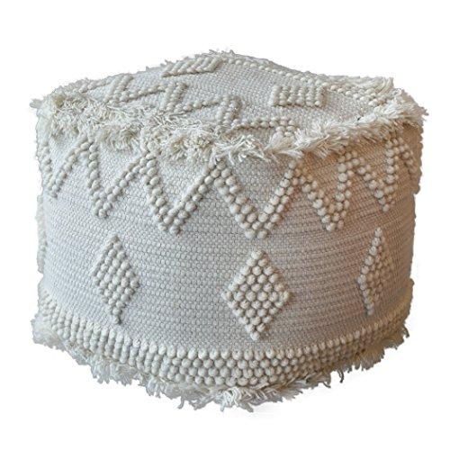 My Swanky Home Tufted Soft Wool Ivory White Cube Ottoman | Bohemian Ikat Pouf Tribal Fringe