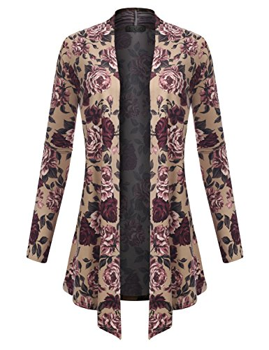 Cashmere Print Cardigan - BIADANI Women's Open Front Lightweight Cardigan Floral Print 601039 Taupe Large