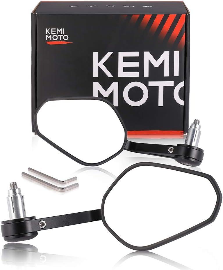 "Motorcycle Bar End Mirrors, kemimoto 7/8"" Heavy Duty Rearview Mirror Universal for Honda, Scooter, Suzuki, Yamaha, Kawasaki Handlebar Mirror"