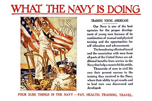 Buyenlarge What The Navy is doing - Training Young Americans Four Sure Things In The Navy - pay, health, Training, Travel - Gallery Wrapped 44''X66'' canvas Print., 44'' X 66''''