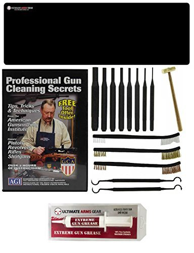 AGI DVD Professional Gun Cleaning Course H&R Topper Rifle + Ultimate Arms Gear Gunsmith Cleaning Gun Mat + 8 pc Steel Punch Tool Set Kit + 8'' Brass Hammer + Brushes & Picks Set + Extreme Gun Grease by Ultimate Arms Gear