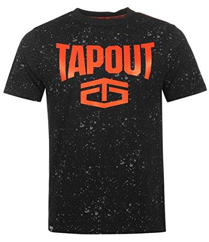 Mens Large Printed Logos Splatter T Shirt Soft Cotton (Medium, Black) (Tapout T Shirt)