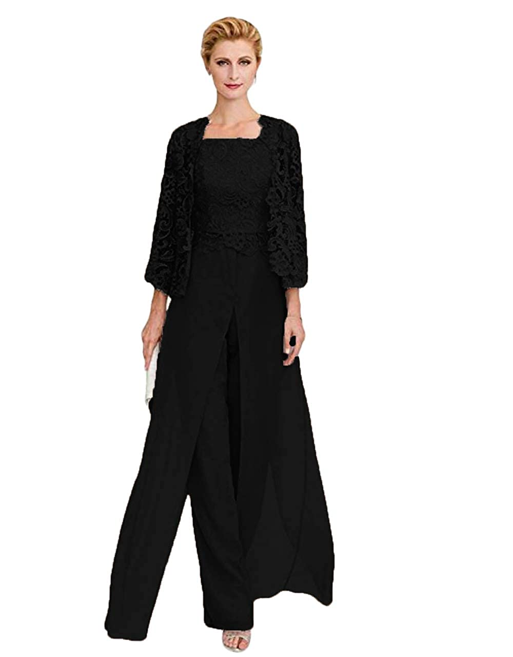 6d1f3b407f22 WZW Mother The Bride Dresses Front Slit Chiffon Pant Suit Three Pieces  Mother of Groom Gown Corded Lace at Amazon Women's Clothing store: