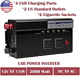 2000 Watt Power Inverter DC 12V To AC 110V For Coffee Maker Hairdryer Camera Charger With USB Charging Ports Cigarette Socket