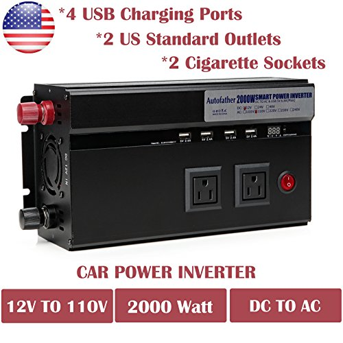 2000 Watt Power Inverter DC 12V To AC 110V For Coffee Maker Hairdryer Camera Charger With USB Charging Ports Cigarette Socket ()