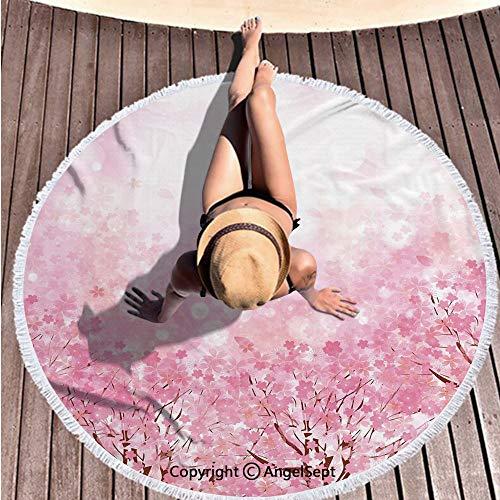 Thick Round Beach Towel Blanket,Japanese Cherry Blossom Sakura Tree with Romantic Influence Asian Nature Theme Baby Pink,59 inches Diameter,403% Microfiber Oversized Beach Towel (Lifestyle California Cherry Table)