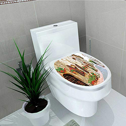 Philip C. Williams Decal Wall Art Decor Tuscan Porchated Stone Roads in Small Town in Italy Peru Red Ecru Bathroom Creative Toilet Cover Stickers W6 x L8 ()