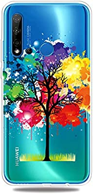 Flexible Soft Thin Slim Compatible with Huawei Y6 2019 //Honor 8A,Crystal Gel Anti-Scratches Shock Absorption Clear Transparent Silicone Colorful Flowers Cartoon TPU Elastic Bumper