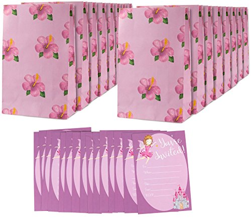Girls Birthday Party Invites Invitations Fill In Style & Goodie Treat Bags - Fairy Floral Theme - Includes 16 Pack Invitations 6 x 4 Inches & 16 Piece Party Favor Bags for Girls 6 x 9.5 Inches