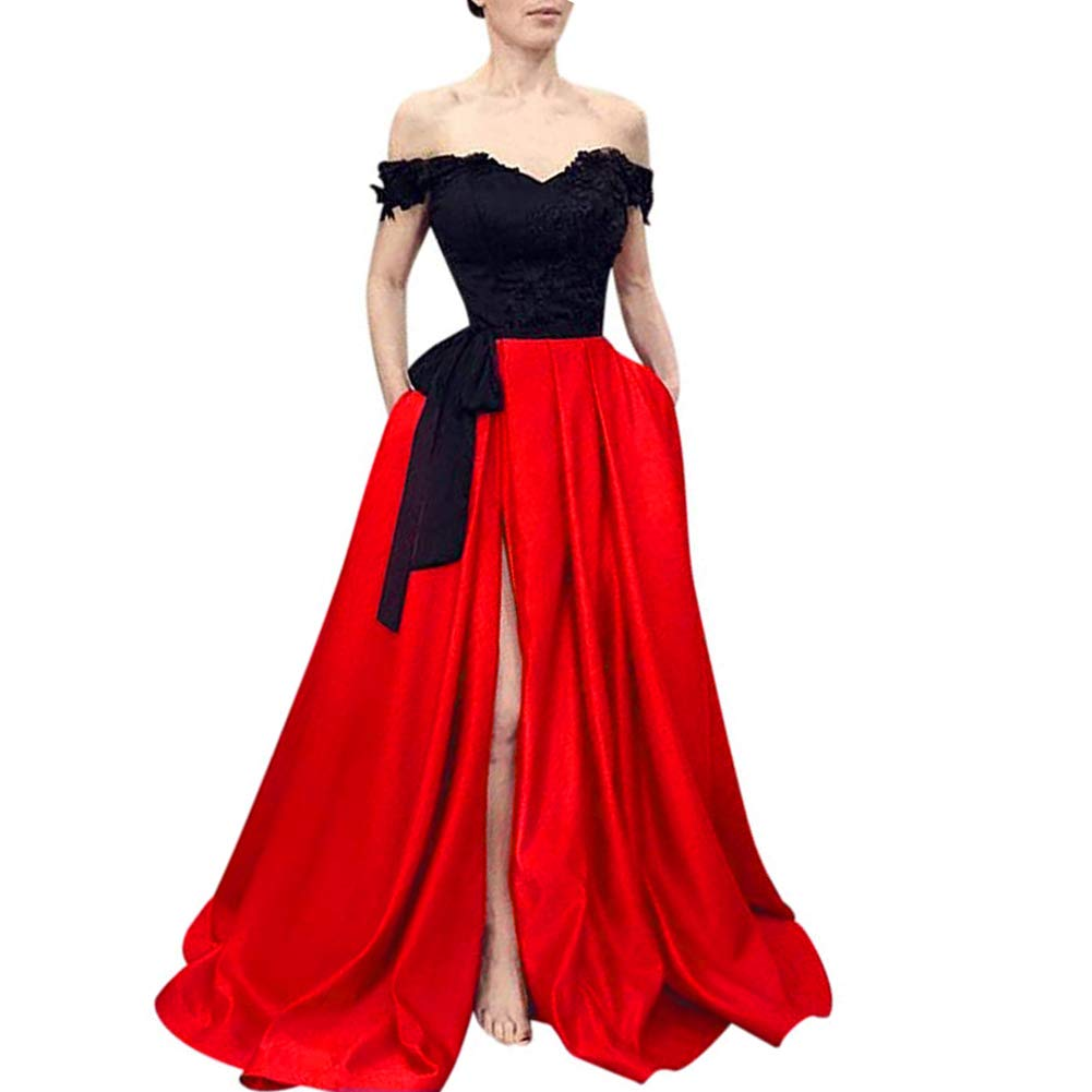Black   Red Kivary Beaded Lace Off The Shoulder Black Top Long Front Slit Evening Prom Dress