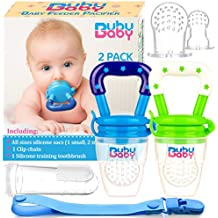 Bububaby Baby Feeder Toys with Pacifier Clip Holder/Silicone Feeding Teether for Fresh and Frozen Fruit or Food, Training Finger Toothbrush and 2 Extra Teats, 2 Pack (Sky Blue & Spring Green)