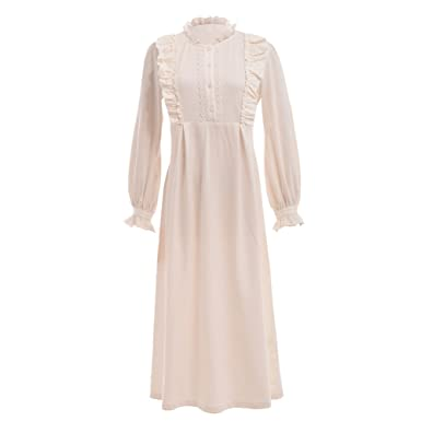 a1c5005e2d GRACEART Victorian Long Sleeve Cotton Nightgown Sleepwear White   Amazon.co.uk  Clothing