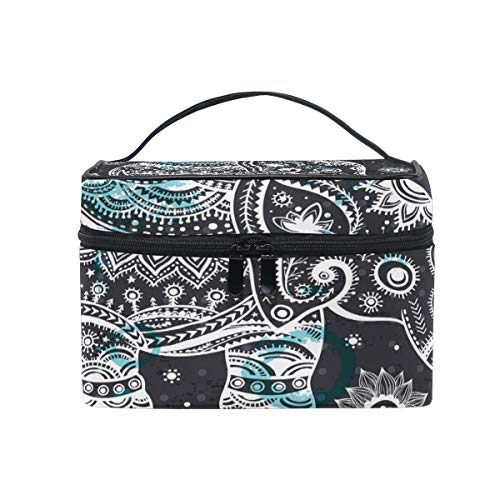 Travel Cosmetic Bag Tribal Ethnic Elephant Flower Dots Toiletry Makeup Bag Pouch Tote Case Organizer Storage For Women Girls ()