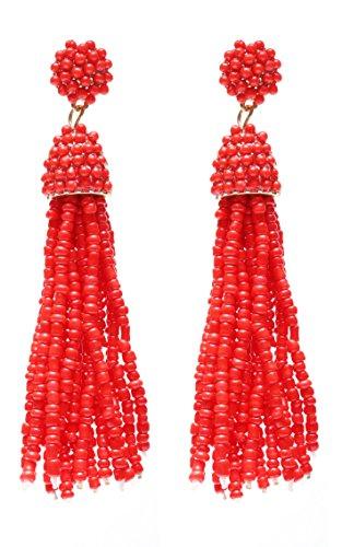 Red Beaded Earring - 1