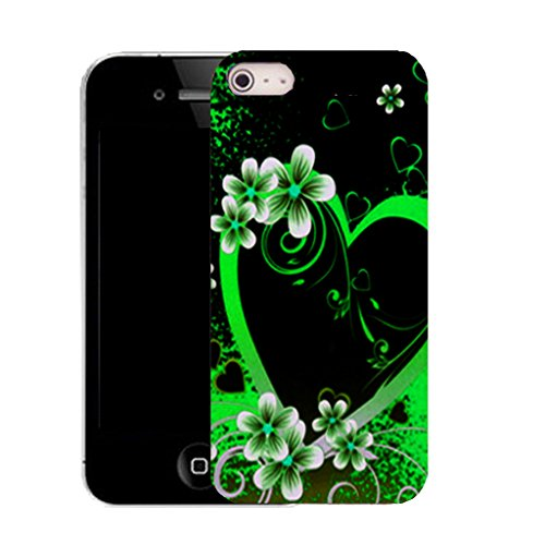 Mobile Case Mate IPhone 4 4S clip on Dur Coque couverture case cover avec Stylet - green alluring heart Motif