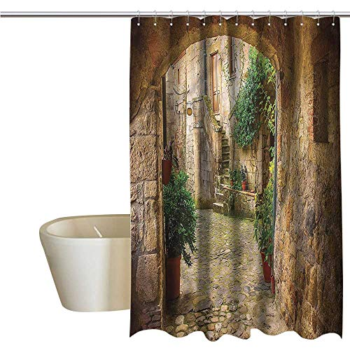 Shower Curtains for Bathroom Country Scenery,Antique Door Tuscany Stone,W48 x L84,Shower Curtain for Girls