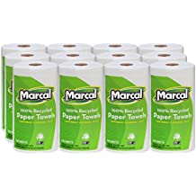 """Marcal U-Size-It Paper Towels, 100% Recycled, 2-Ply, Pick-A-Size Towels, 210 Sheets Per Roll, 12 Individually Wrapped Rolls, In a """"Roll Out"""" Case - Green Seal Certified 06210"""