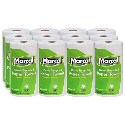 Marcal U-Size-It Paper Towels, 100% Recycled, 2-Ply, U-Size-It Towels, 210 Sheets Per Roll, 12 Individually Wrapped Rolls, in a
