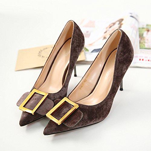 ZHZNVX Die neuen Frauen Schuhe hohe hingewiesen - verfolgte Frauen Schuhe fein mit quadratischen Schnalle Sandalen