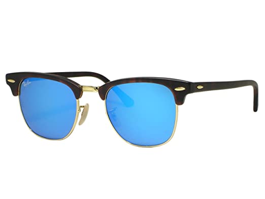 6cca438f9cc Image Unavailable. Image not available for. Color  Ray Ban RB3016 Clubmaster  1145 17 Sand Havana Blue Mirror Sunglasses 49mm