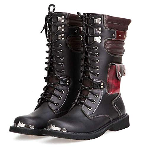 Mens Martin Boot British Fashion Genuine Leather Waterproof High Boot Army Gothic Motorcycle Steampunk Shoes Motorcycle Western Cowboy Boots Uniform Boots,46
