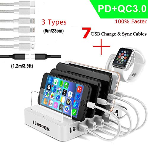 COSOOS Fastest Charging Station with Power Delivery and Quick Charge 3.0,Type C,7 USB Cable(4 Type),lwatch Holder,90W 6-Port PD Charger Station Organizer for Multiple Devices,Phone,USB-C Laptop-Silver