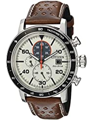Citizen Mens Eco-Drive Quartz Stainless Steel and Leather Casual Watch, Color:Brown (Model: CA0649-06X)
