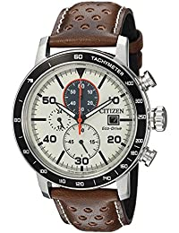 Men's 'Eco-Drive' Quartz Stainless Steel and Leather Casual Watch, Color:Brown (Model: CA0649-06X)