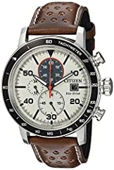 Watch Sizing Guide Citizen Eco-Drive™ FAQ Distinguish your look with this sport-luxe Citizen® watch adding to the mix. Stainless steel case. Perforated leather strap with adjustable buckle closure. Round face with mineral crystal. Three-hand ...
