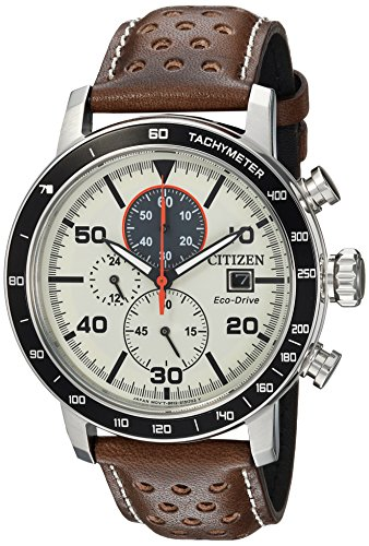 Citizen Men's 'Eco-Drive' Quartz Stainless Steel and Leather Casual Watch, Color:Brown (Model: CA0649-06X)