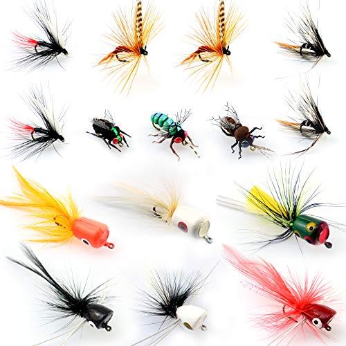 YAZHIDA Fly Fishing bass Popper Dry Flies kit Fly Popper Topwater Bait (pop15)