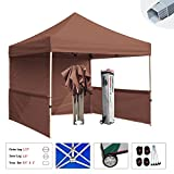 Eurmax Premium 10x10 Trade Show Tent Event Canopy Market Stall Canopy Booth Outdoor Canopy Bonus: Four (4) Weight Bags+roller Bag (Brown)