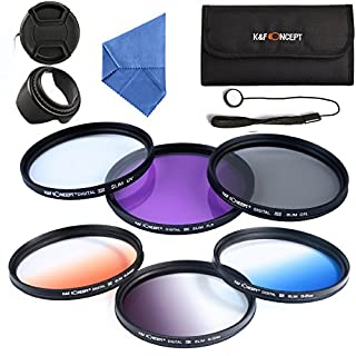 K&F Concept 67mm Lens Filter Kit (FLD+ Circular Polarizing+ UV Protector+ Graduated Color Filter Blue+Orange+Gray) with Cleaning Cloth Lens Hood,Lens Cap, Filter case