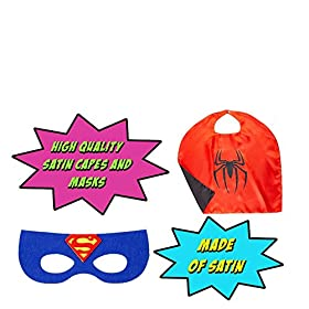 - 51VxcTnYQYL - Superhero Capes for Kids, Girls & Boys   Pretend Play 2 Reversible Capes & 4 Masks Halloween, Birthdays Party Favors