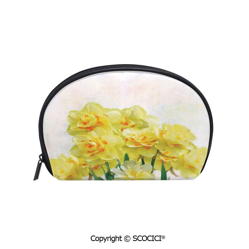 SCOCICI Printed Small Size Storage Makeup Bag Watercolors Paint of Daffodils Bouquet Called Jonquils in England Lily for Women Girl Ladies