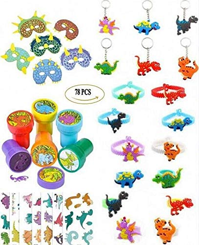 (Coco & Ella 78 PCS Dinosaur Party Favors Supplies Dinosaur Stampers Masks Wristband Bracelets Rings Keychain Tattoos Kids Dress-up Toys Crafts Gift Novelty Prizes for Boys)
